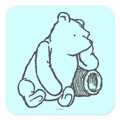 Sketch Winnie the Pooh 2 Square Sticker