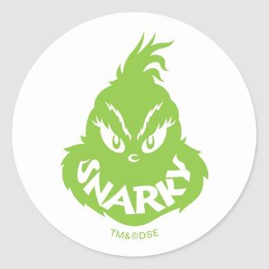 Snarky Grinch | Snarky Grinch Face Classic Round Sticker
