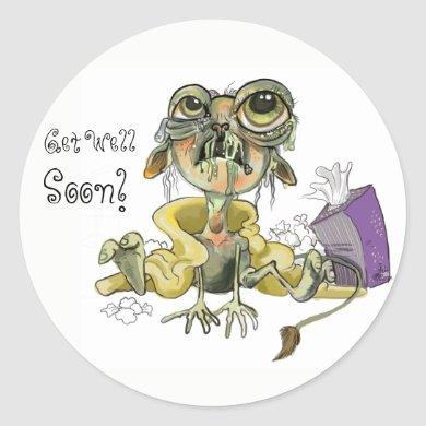 Snot Goblin Get Well Soon! Classic Round Sticker
