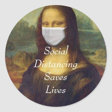 social distancing saves lives classic round sticker