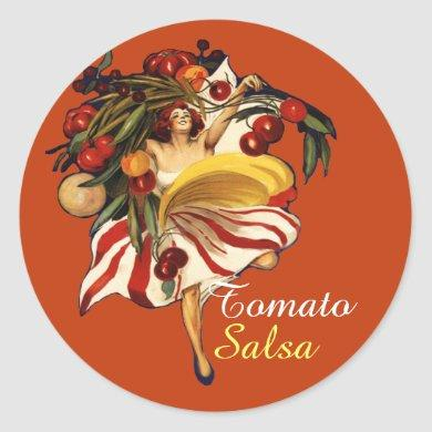 SPAGHETTI PARTY DANCE,ITALIAN KITCHEN TOMATO SALSA CLASSIC ROUND STICKER