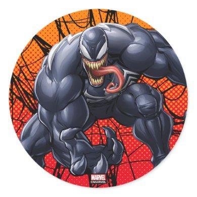 Spider-Man   Venom Reaching Forward Classic Round Sticker