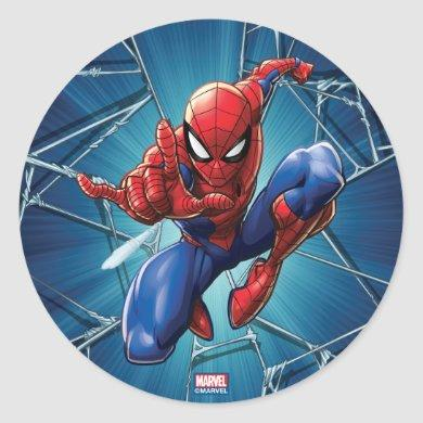 Spider-Man | Web-Shooting Leap Classic Round Sticker