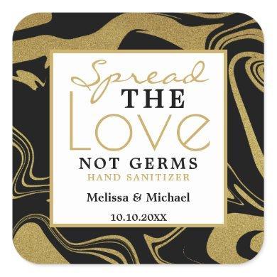 Spread Love Black And Gold Wedding Hand Sanitizer Square Sticker