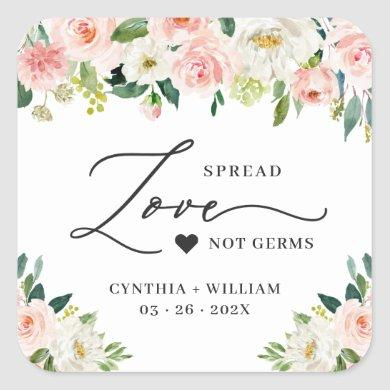 Spread Love Blush Pink Floral Wedding Sanitizer Square Sticker