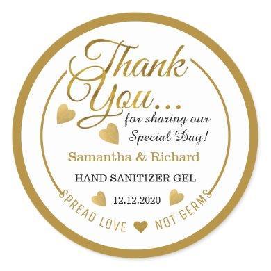 Spread Love Gold Thank You Favor  Hand Sanitizer Classic Round Sticker