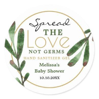 Spread Love Greenery Baby Shower Sanitizer Favor Classic Round Sticker