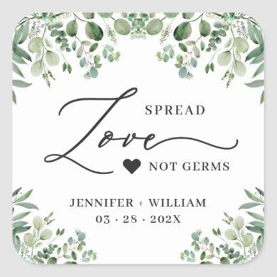 Spread Love Greenery Eucalyptus Wedding Sanitizer Square Sticker