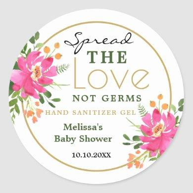Spread Love Hand Sanitizer Baby Shower Favors Classic Round Sticker