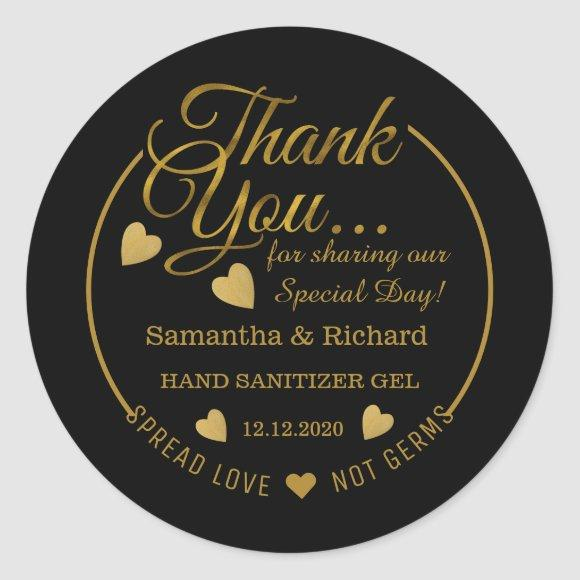 Spread Love Hand Sanitizer Black Gold Thank You Classic Round Sticker