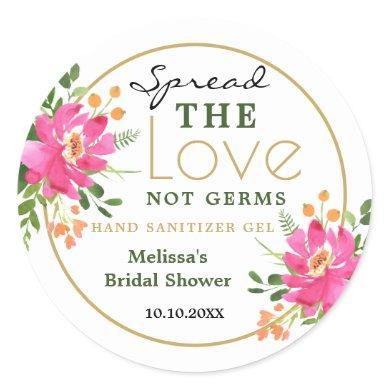 Spread Love Hand Sanitizer Bridal Shower Favors Classic Round Sticker