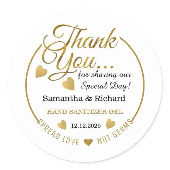 Spread Love Hand Sanitizer Gold Thank You Favor Classic Round Sticker