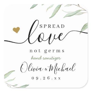 Spread Love Hand Sanitizer Greenery Wedding Favor Square Sticker