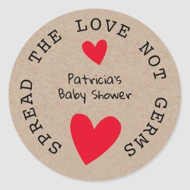 Spread The Love Kraft Paper Baby Shower Favors Classic Round Sticker