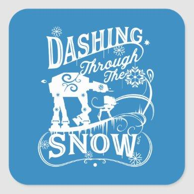 "Star Wars AT-AT & AT-ST ""Dashing Through The Snow"" Square Sticker"