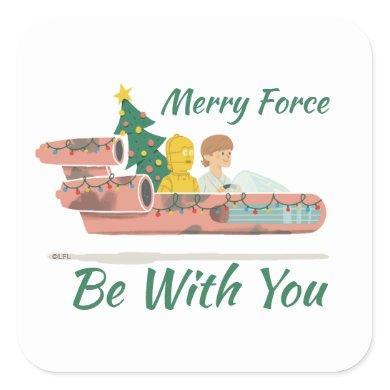 Star Wars Christmas Tree Delivery In Landspeeder Square Sticker