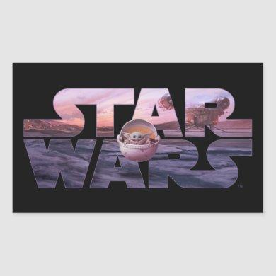 Star Wars Desert Title With The Child Rectangular Sticker