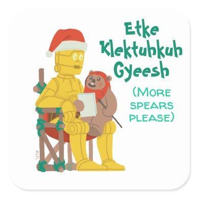Star Wars Ewok on Santa C-3PO's Lap Square Sticker
