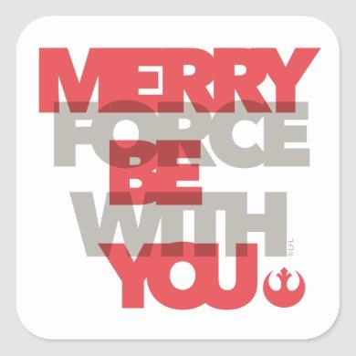 "Star Wars ""Merry Force Be With You"" Square Sticker"