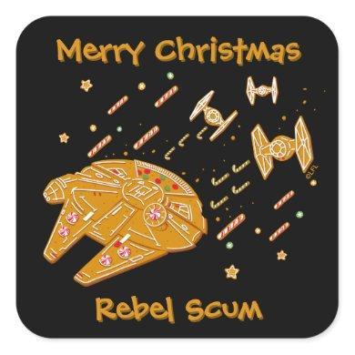 Star Wars Millennium Falcon Cookie Square Sticker
