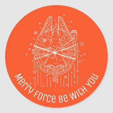 Star Wars Millennium Falcon With Christmas Tree Classic Round Sticker