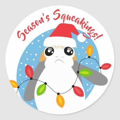 Star Wars Porg Wrapped In Holiday Light String Classic Round Sticker