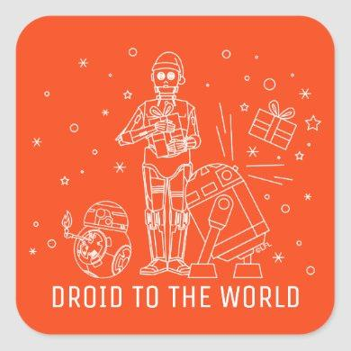 Star Wars Rebel Droid Holiday Line Art Square Sticker