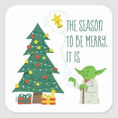 Star Wars Yoda Placing Star on Christmas Tree Square Sticker