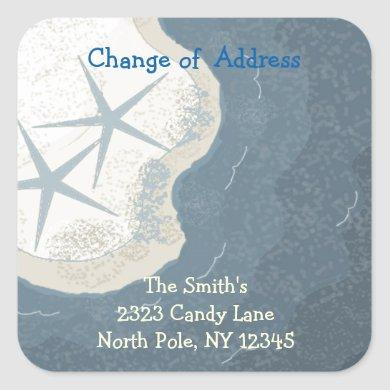 Starfish and Ocean Change of Address Square Sticker