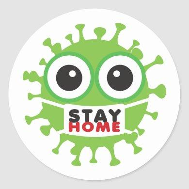 Stay Home Classic Round Sticker