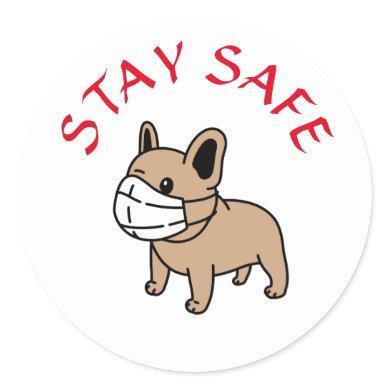STAY SAFE CARTOON BULLDOG WITH FACE MASK STICKER