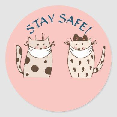 STAY SAFE STICKER TWO CATS WITH MASKS