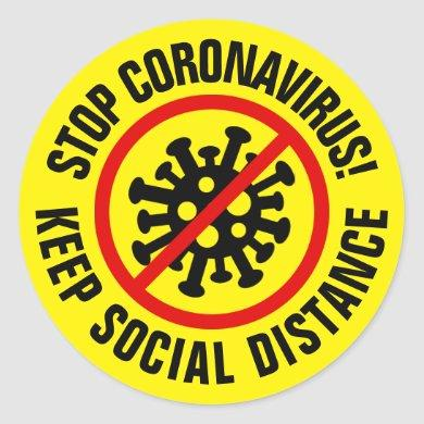 Stop CoronaVirus Logo Custom Social Distancing Classic Round Sticker