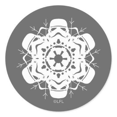 Stormtrooper Snowflake Design Classic Round Sticker