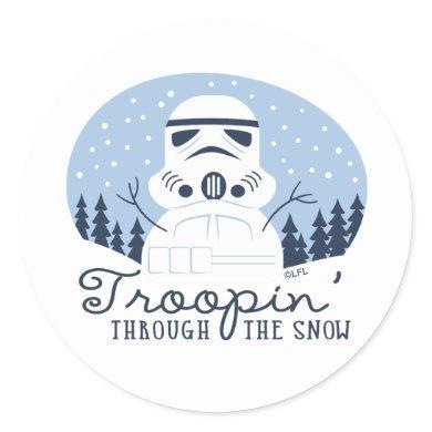 "Stormtrooper Snowman ""Troopin' Through The Snow"" Classic Round Sticker"