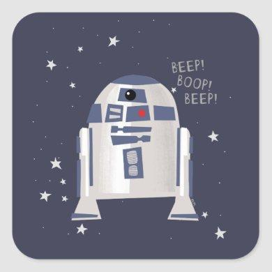 Storybook Style R2-D2 - Beep! Boop! Beep! Square Sticker