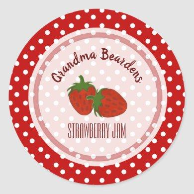 Strawberry And Polka Dot Personalized Labels