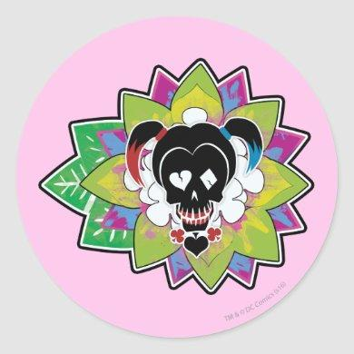 Suicide Squad | Harley Quinn Skull Tattoo Art Classic Round Sticker