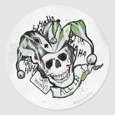 "Suicide Squad | Joker Skull ""All In"" Tattoo Art Classic Round Sticker"