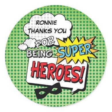 Super Hero Comic Strip Mask Kids Birthday Stickers