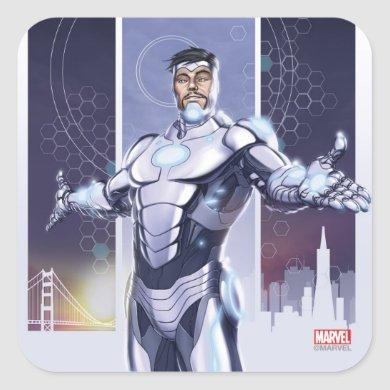 Superior Iron Man And City Square Sticker