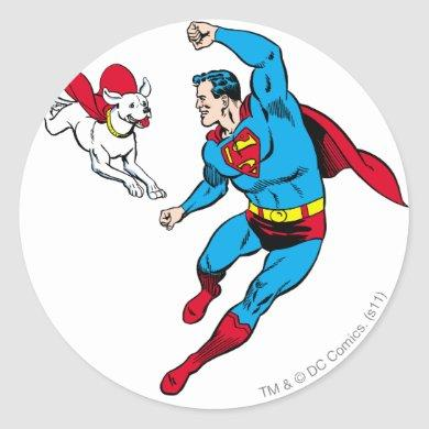 Superman and Krypto 2 Classic Round Sticker