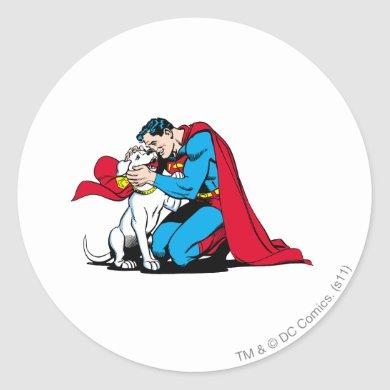 Superman and Krypto Classic Round Sticker