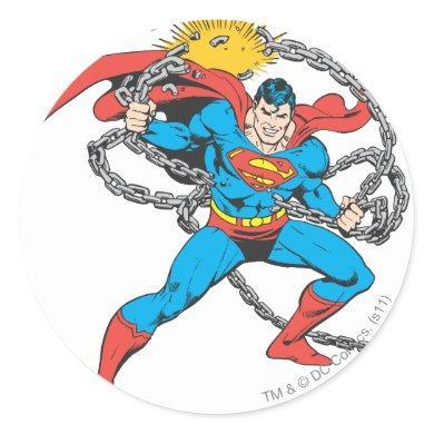Superman Breaks Chains 3 Classic Round Sticker