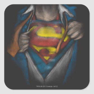 Superman | Chest Reveal Sketch Colorized Square Sticker