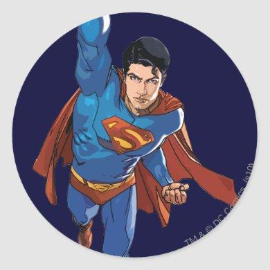 Superman Flying Forward Classic Round Sticker