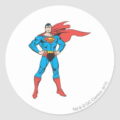 Superman Posing Classic Round Sticker