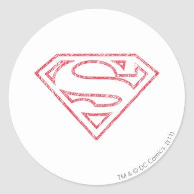 Superman S-Shield | Red Outline Logo Classic Round Sticker