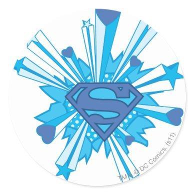 Superman Stylized | Blue Shield Hearts Logo Classic Round Sticker