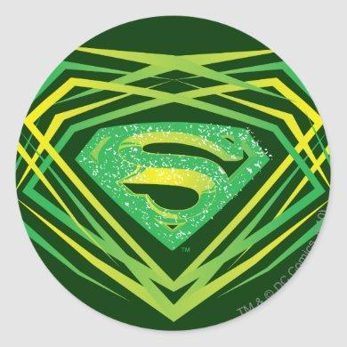 Superman Stylized | Green Decorative Logo Classic Round Sticker